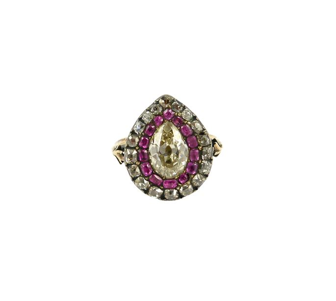 18th century  pear shaped diamond and ruby cluster ring | MasterArt