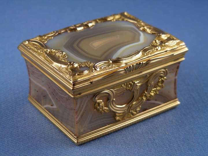 18th century banded agate and gold mounted rectangular box
