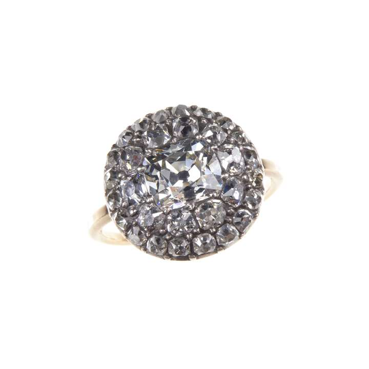 18th century cushion cut diamond circular cluster ring