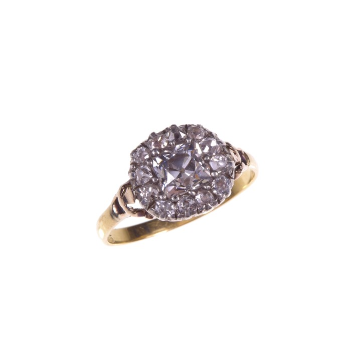 18th century cushion cut diamond cluster ring
