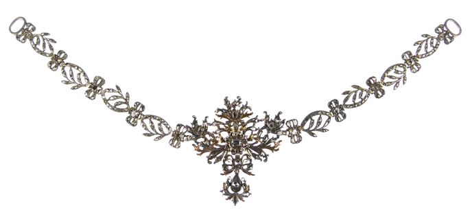 18th century diamond foliate scroll cluster necklace | MasterArt
