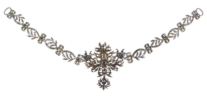 18th century diamond foliate scroll cluster necklace