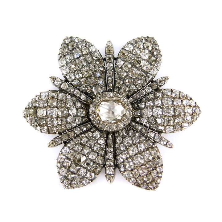 18th century diamond six petal flowerhead brooch