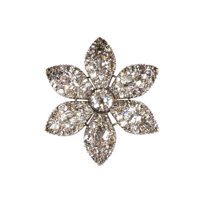 18th century diamond six-petal flowerhead brooch | MasterArt