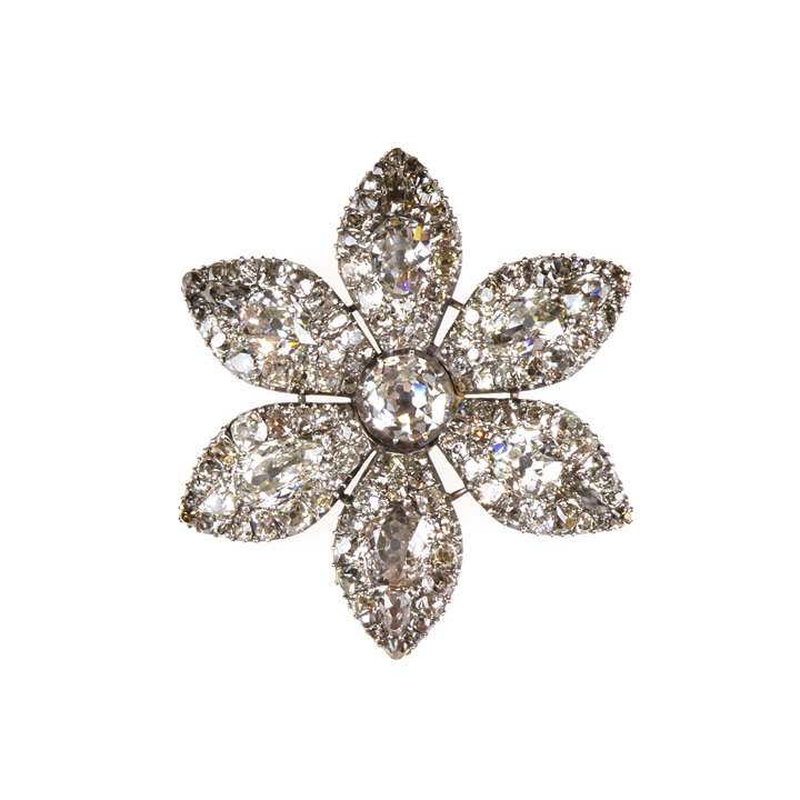 18th century diamond six-petal flowerhead brooch