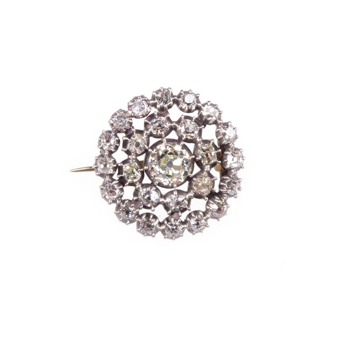 18th century diamond target cluster brooch. | MasterArt