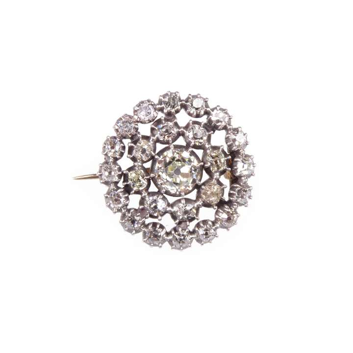 18th century diamond target cluster brooch.
