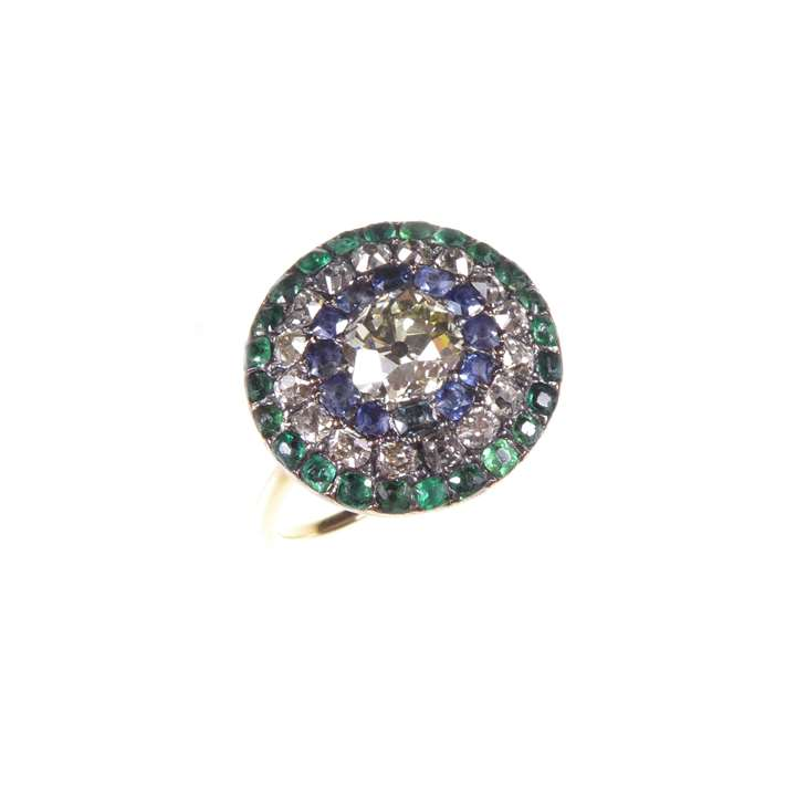 Diamond, sapphire and green paste target cluster ring, close set in silver and gold, English circa 1760