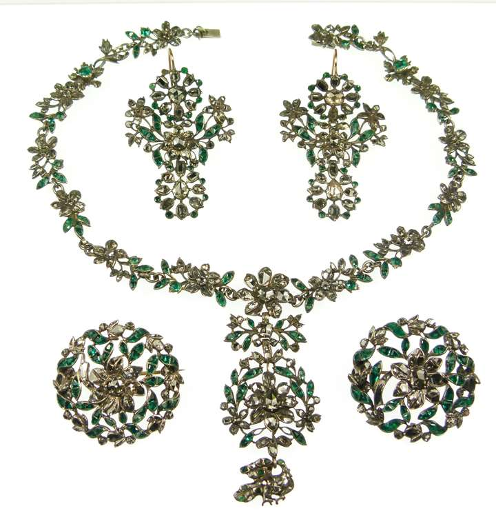 Emerald and diamond floral and foliate cluster suite, comprising a necklace, two brooches and a pair of earrings