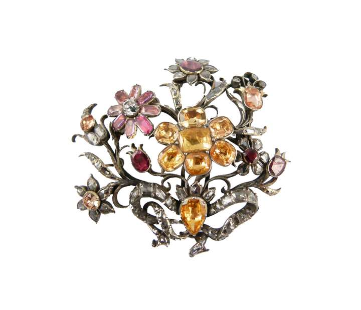 18th century foiled multi-gem and diamond floral spray brooch