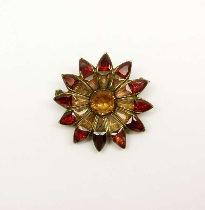 18th century garnet and topaz flowerhead brooch