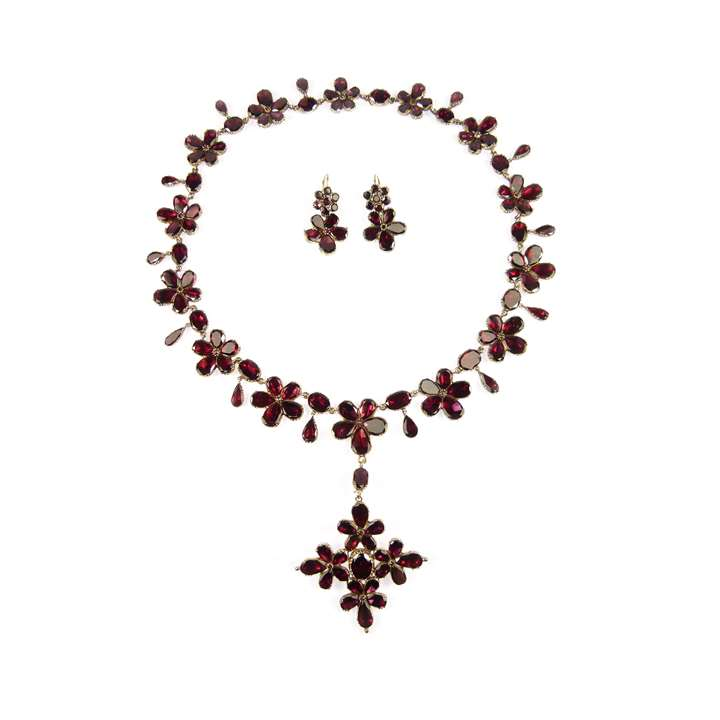 18th century garnet flowerhead cluster suite of necklace with cross brooch-pendant and pair of earrings