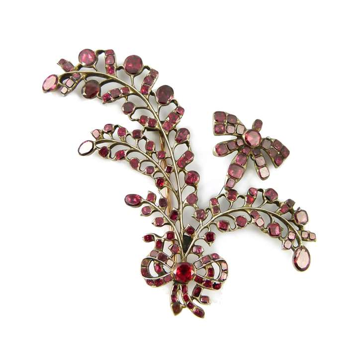 18th century garnet ribbon tied spray brooch with tremblant insect