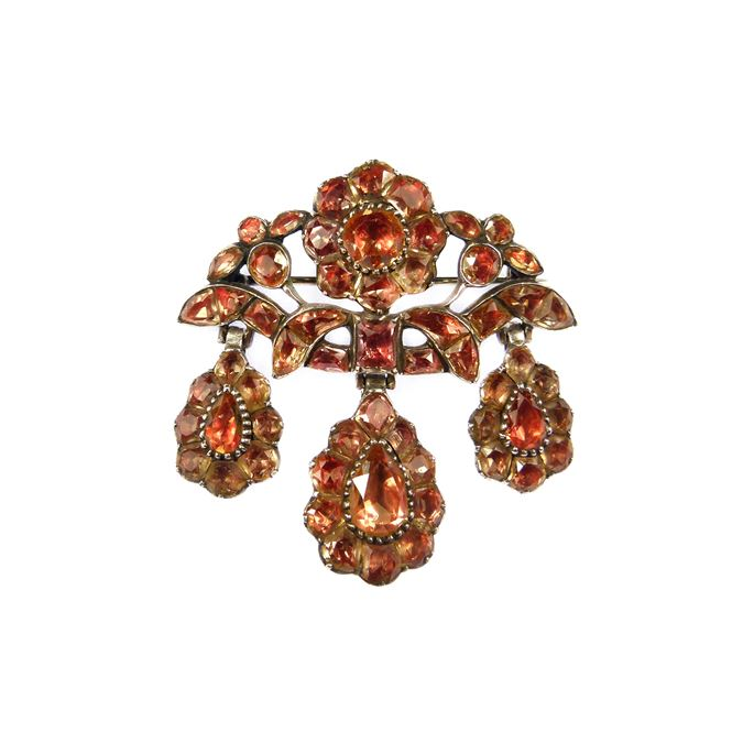 18th century golden orange topaz girandole pendant brooch | MasterArt