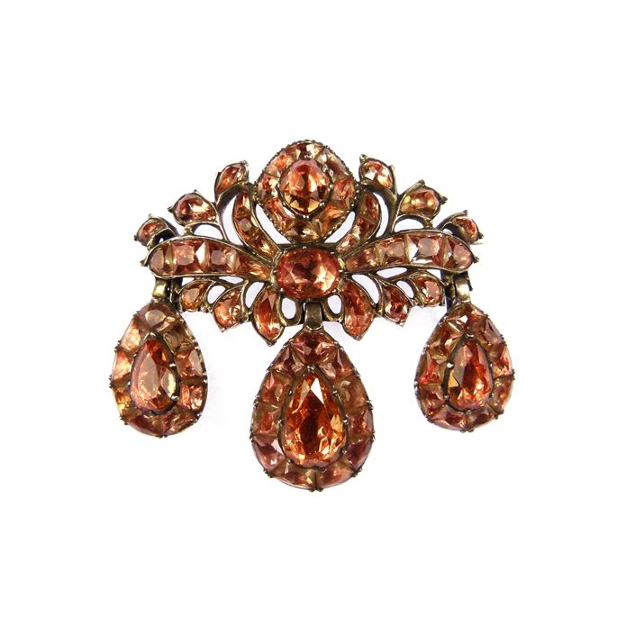 18th century golden orange topaz girandole pendant-brooch | MasterArt