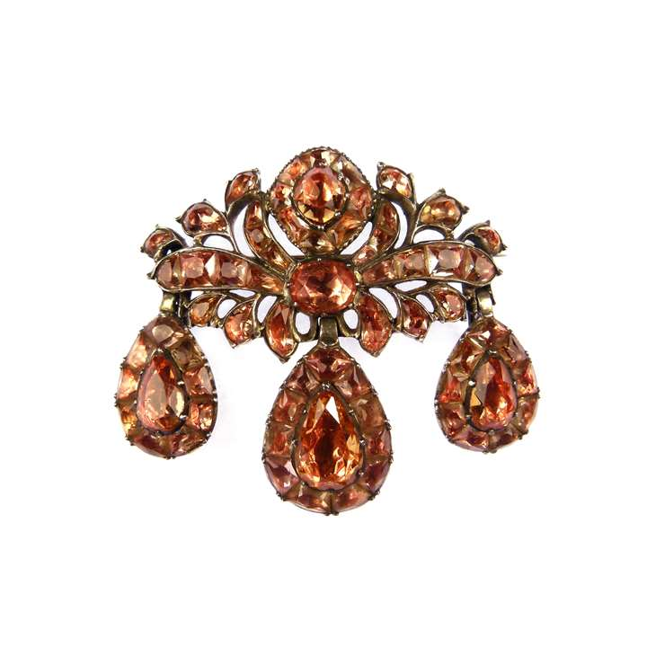 18th century golden orange topaz girandole pendant-brooch