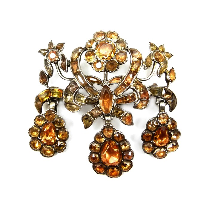 18th century golden topaz triple drop cluster brooch