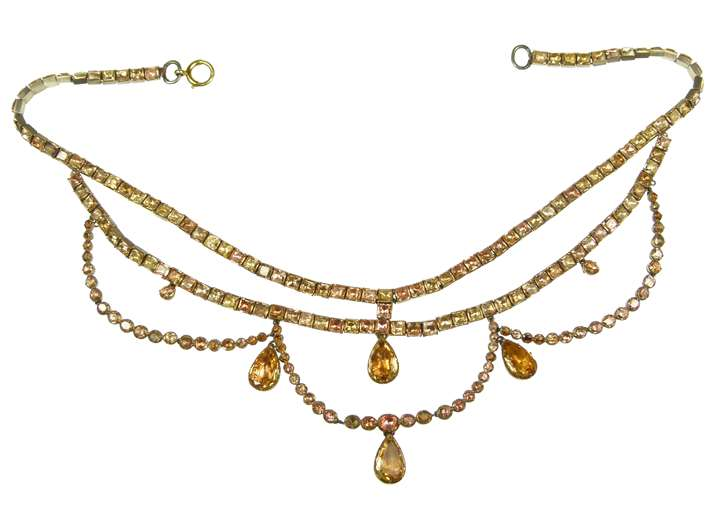 18th century golden-orange topaz square collet necklace with similar swags, strung on silk