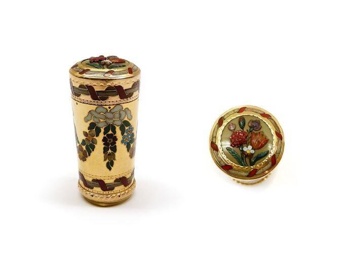 18th century hardstone mounted gold cane handle | MasterArt
