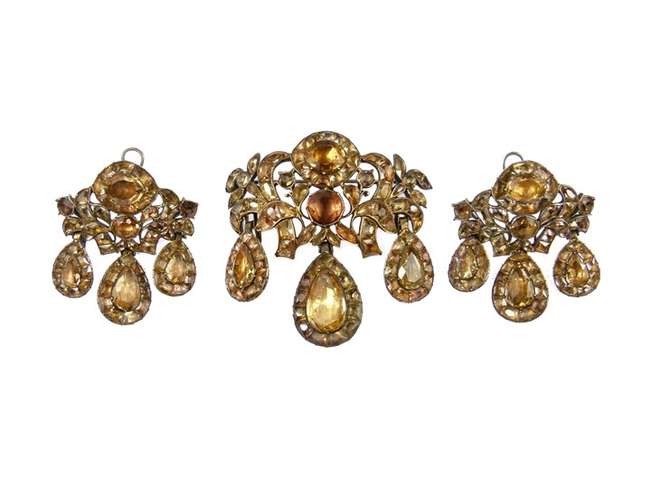 18th century light orange topaz triple drop demi-parure of brooch and pair of earrings