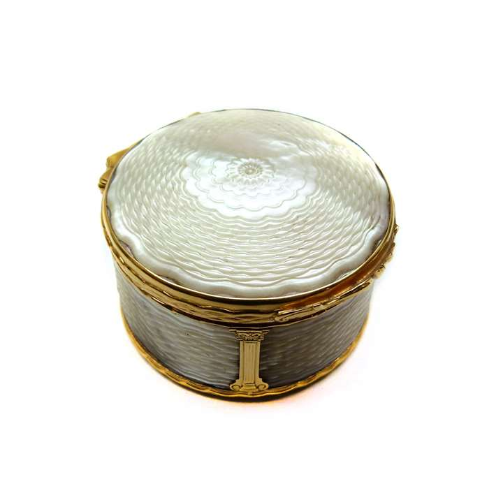 18th century mother-of-pearl and gold box with miniature to interior