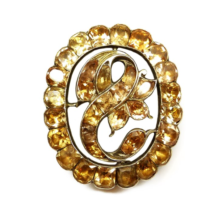 18th century orange topaz oval cluster brooch, Iberian