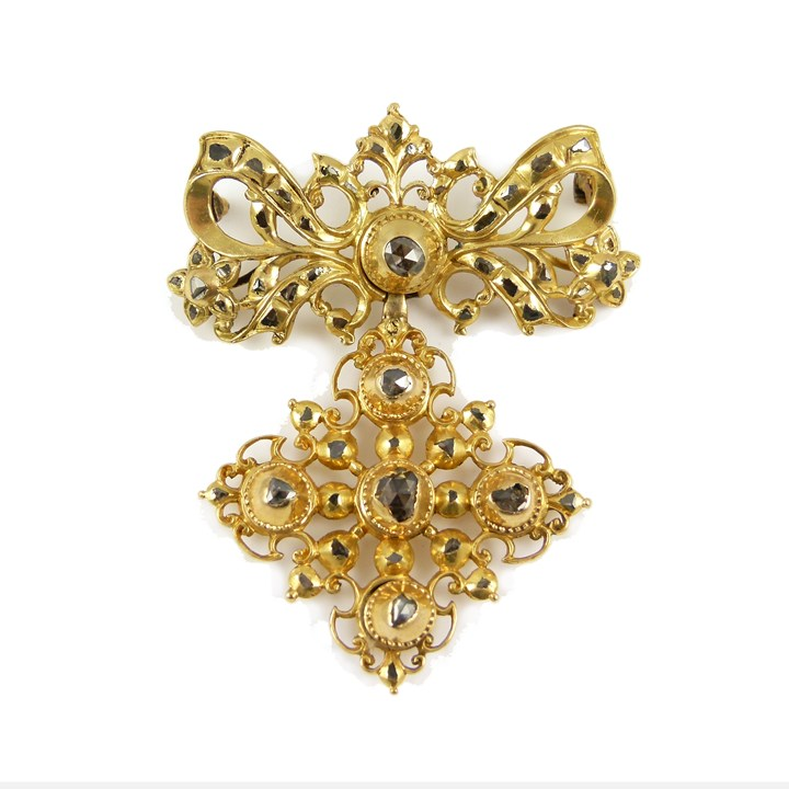 18th century rose cut diamond and gold pendant brooch