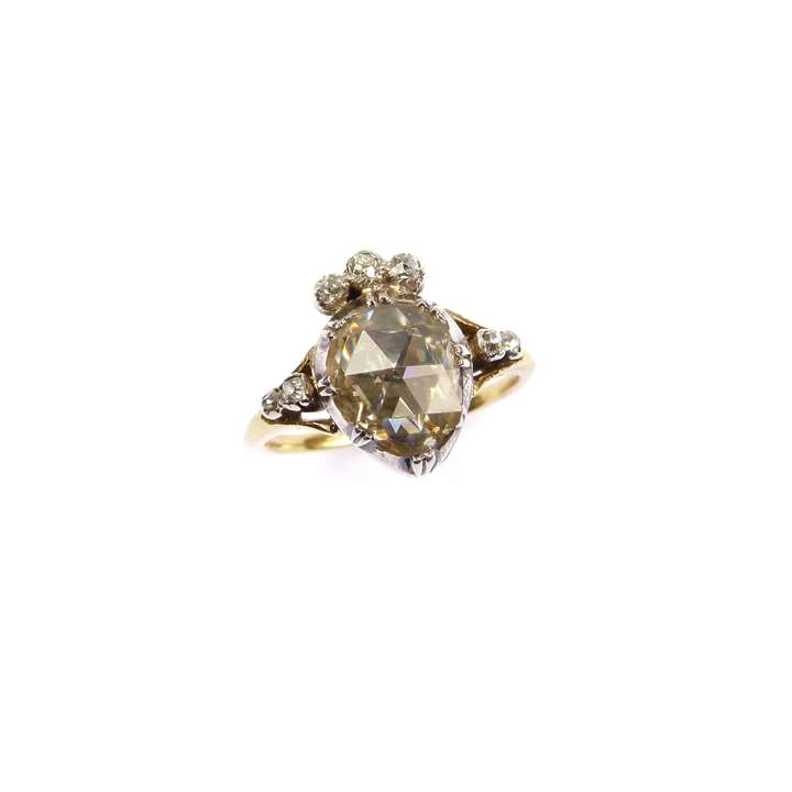 18th century rose cut diamond heart-and-crown ring