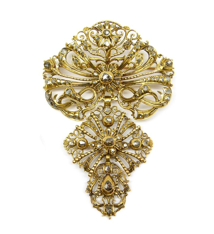 18th century rose diamond and gold matched pendant brooch