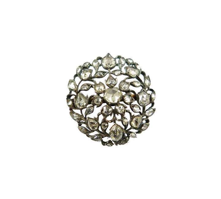 18th century rose diamond circular cluster brooch