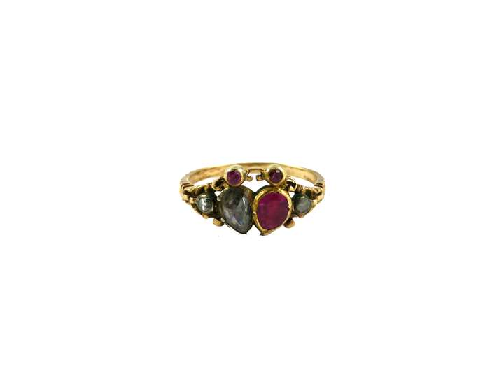 18th century ruby and diamond double heart ring