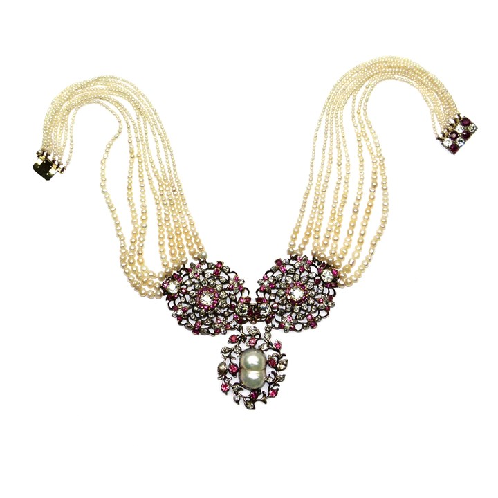 18th century ruby, diamond and pearl openwork cluster panels on a graduated pearl necklace