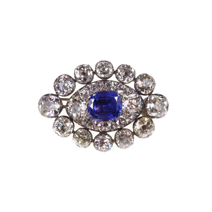 Sapphire and diamond lozenge shaped cluster brooch