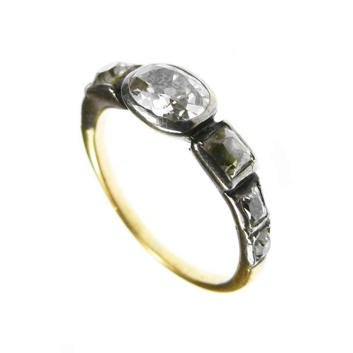 18th century seven stone diamond ring