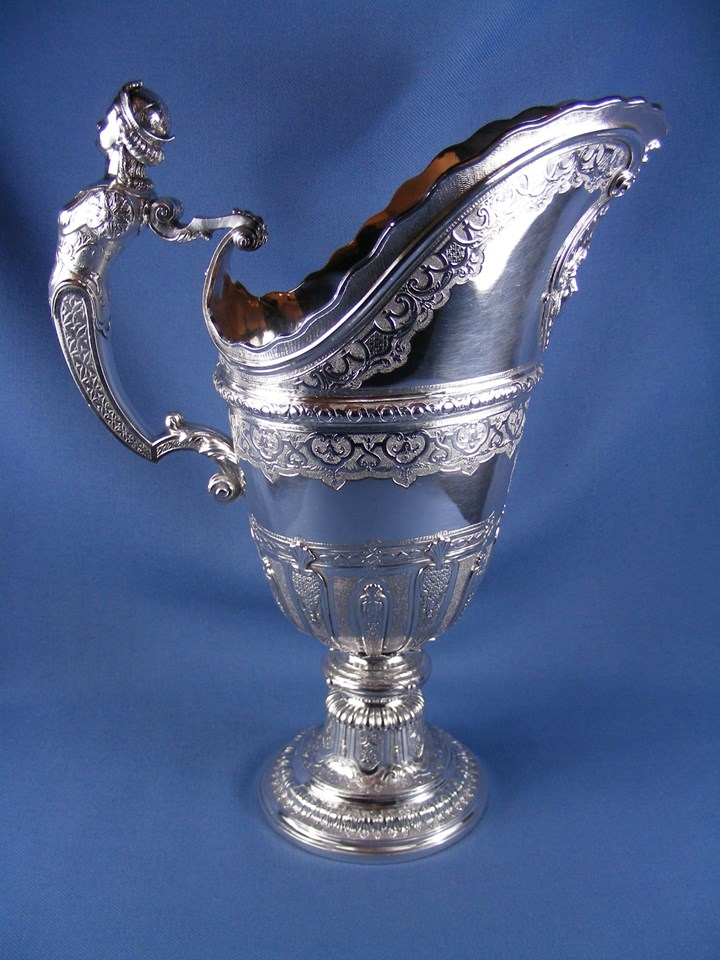 18th century silver ewer of helmet form