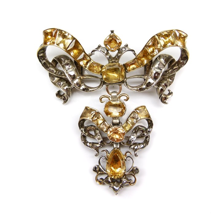 18th century topaz and diamond ribbon bow brooch