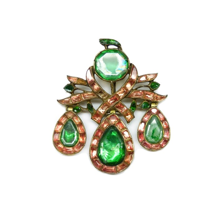18th century triple drop orange topaz and green soude stone pendant-brooch, Iberian