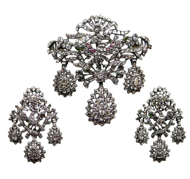 18th century white topaz and gem set triple drop brooch-pendant and pair of earrings