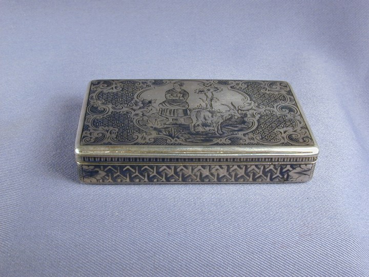 19th century Austro-Hungarian silver and niello snuff box