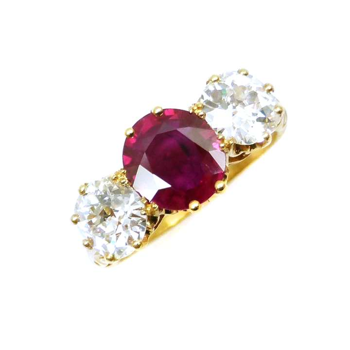 19th century Burma ruby and diamond three stone ring