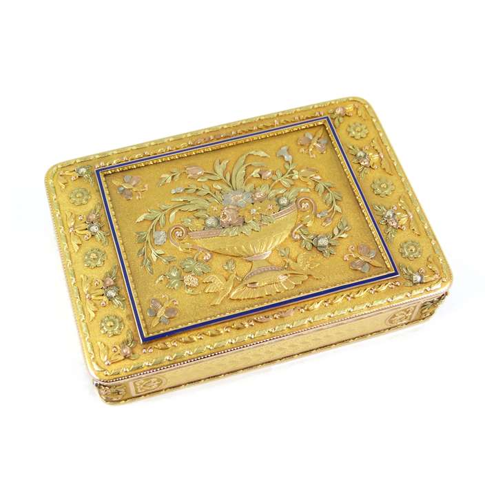 19th century German coloured gold rectangular box