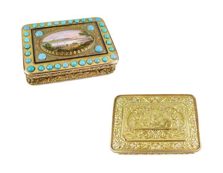 19th century German coloured gold, turquoise and enamel scene box