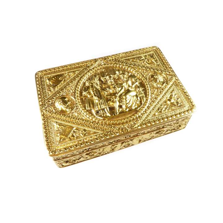 19th century Italian rectangular gold box