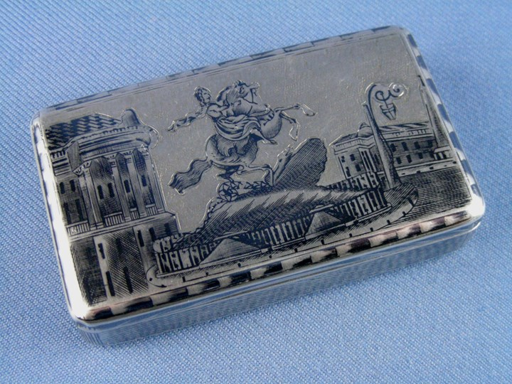 19th century Russian rectangular silver gilt niello Peter the Great statue scene box, assaymaster Andrey Kovalskiy