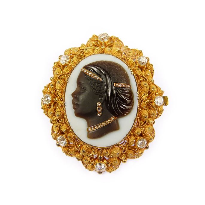 19th century agate cameo, diamond and gold cannetille brooch | MasterArt