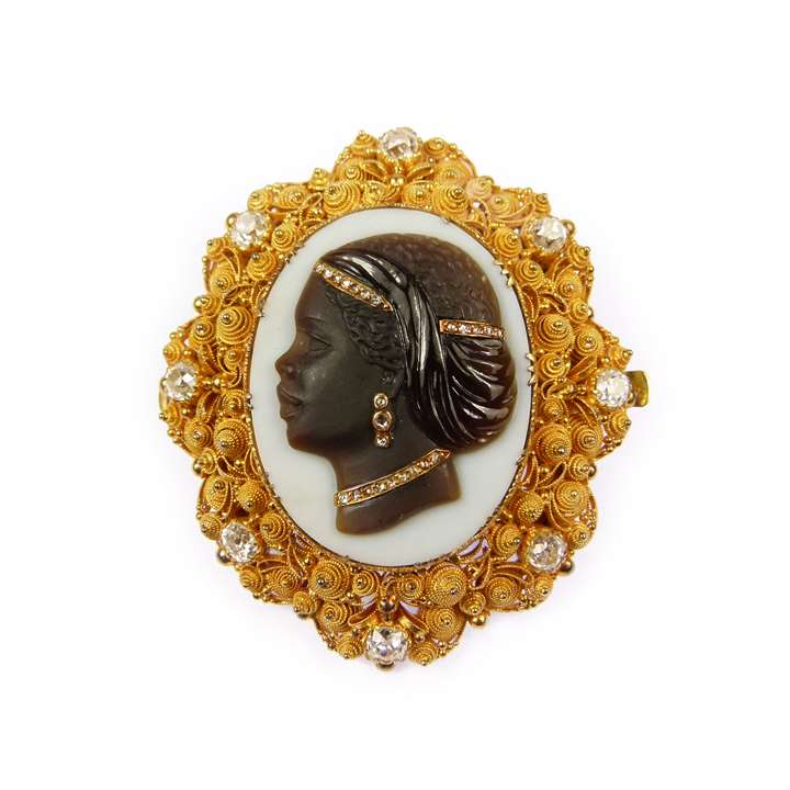 19th century agate cameo, diamond and gold cannetille brooch