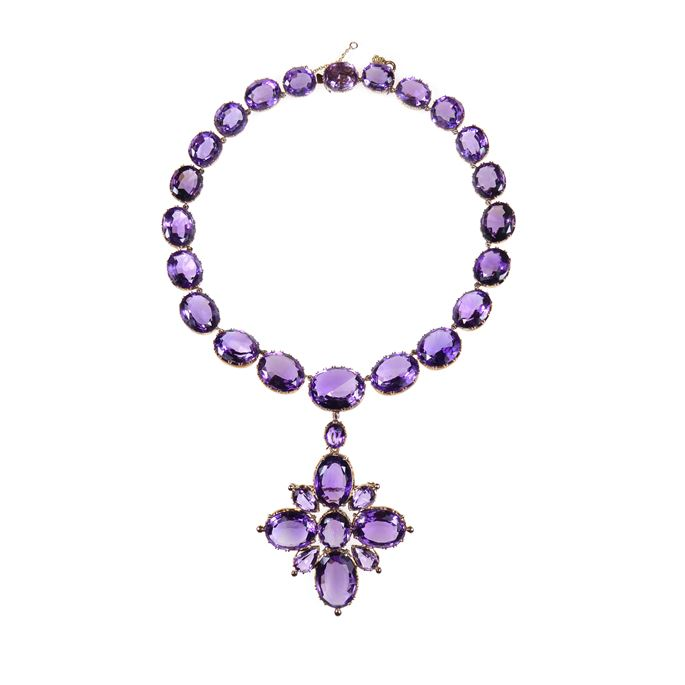 19th century amethyst and gold collet necklace with cross pendant-brooch | MasterArt