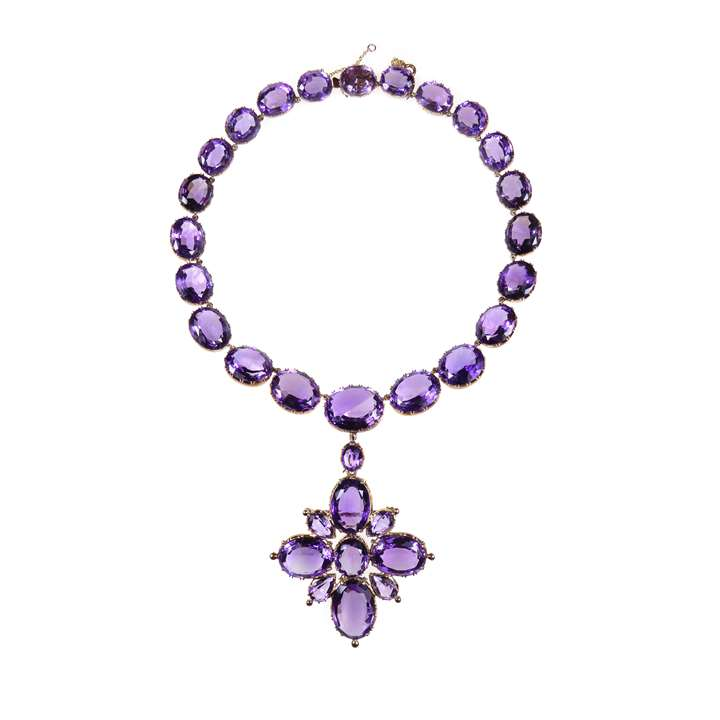 19th century amethyst and gold collet necklace with cross pendant-brooch