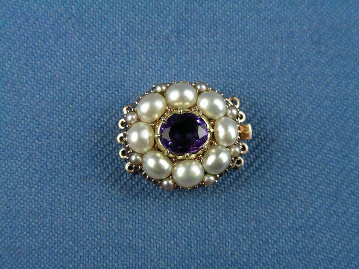 19th century amethyst and pearl oval cluster clasp