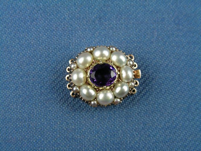 19th century amethyst and pearl oval cluster clasp | MasterArt